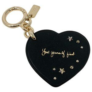 Coach Selena Gomez Heart Bag Charm Key Chain Black